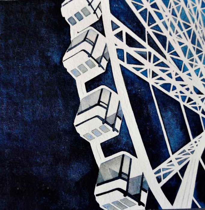 Evelyne Picard,  La Roue Tourne , 2015  Watercolor  10 x 10 x 1 in.  $320