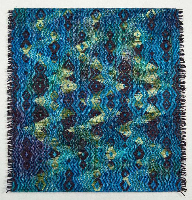 Janice Lessman-Moss      #427G Random Walk Series , 2013     Linen, paper, core, dye, ink, digital weaving