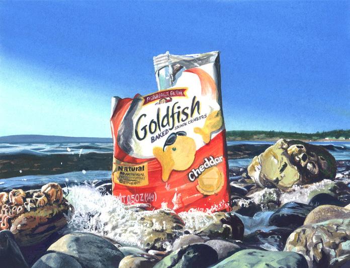 Karen Hackenberg    Golden Carp at the Headwaters , 2013     Gouache on paper