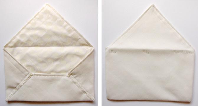 Karri Dieken      4 bar , 2013    Serigraph, hand-sewn fabric envelope