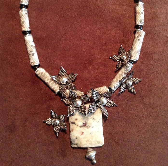 Lynn Quesenbury      Flattery's Sincerest Form , 2013     Jasper, glass seed beads