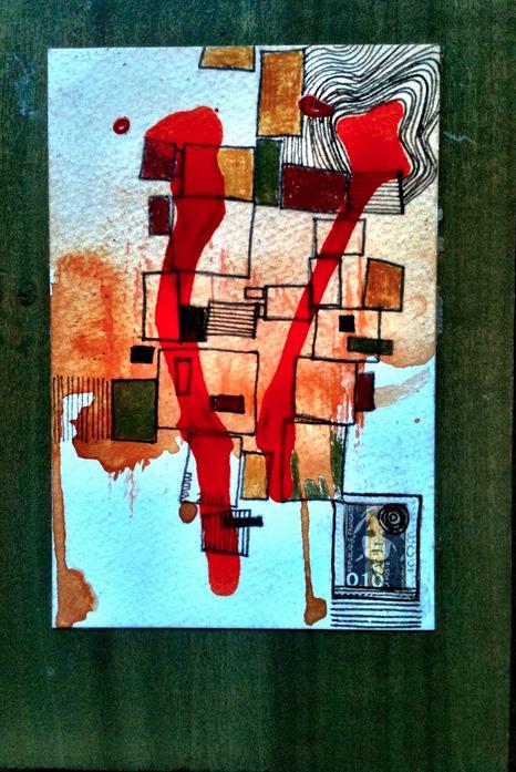 Mary Portteus      Republic Francaise Post , 2012     Gouache, ink, philately and poplar