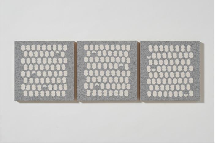 Meghan Urback      Felt Panels, White on Grey , 2012     Industrial wool felt, wood panel