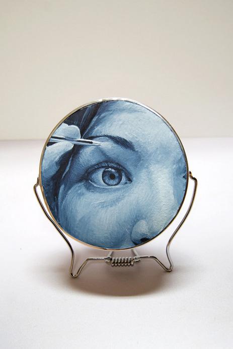 Rachel Hardin      Plucking Eyebrows , 2012    Gouache on foam board in metal frame