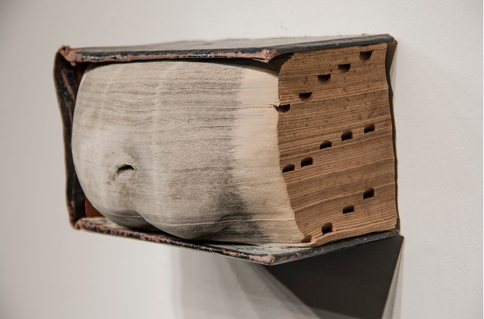 Scott Mansfield      The Fruit of My Analysis , 2013     Carved Book