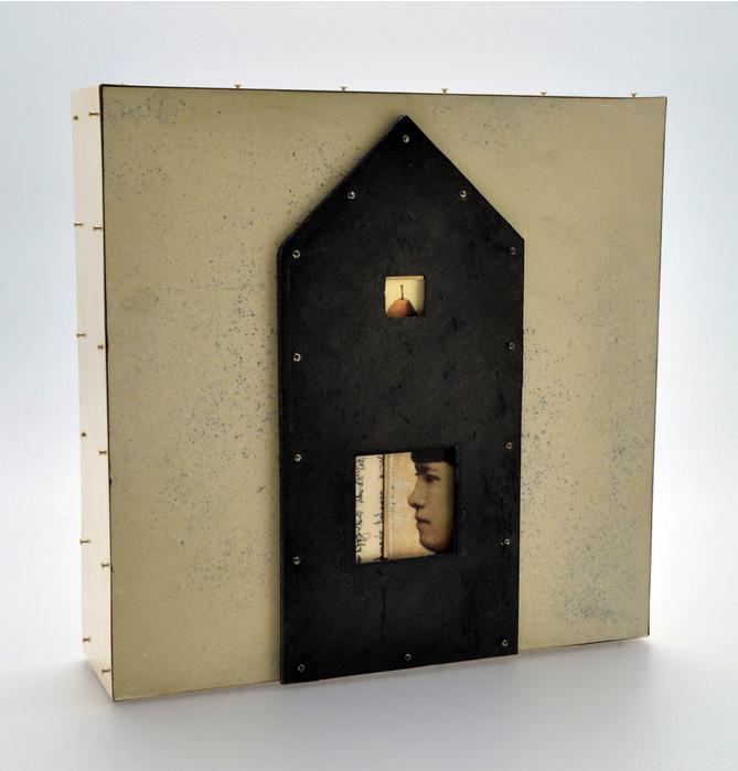 Teresa Harris      Portrait Attribute Pear , 2011     Mixed media, paper, wood, brass, wax, found objects