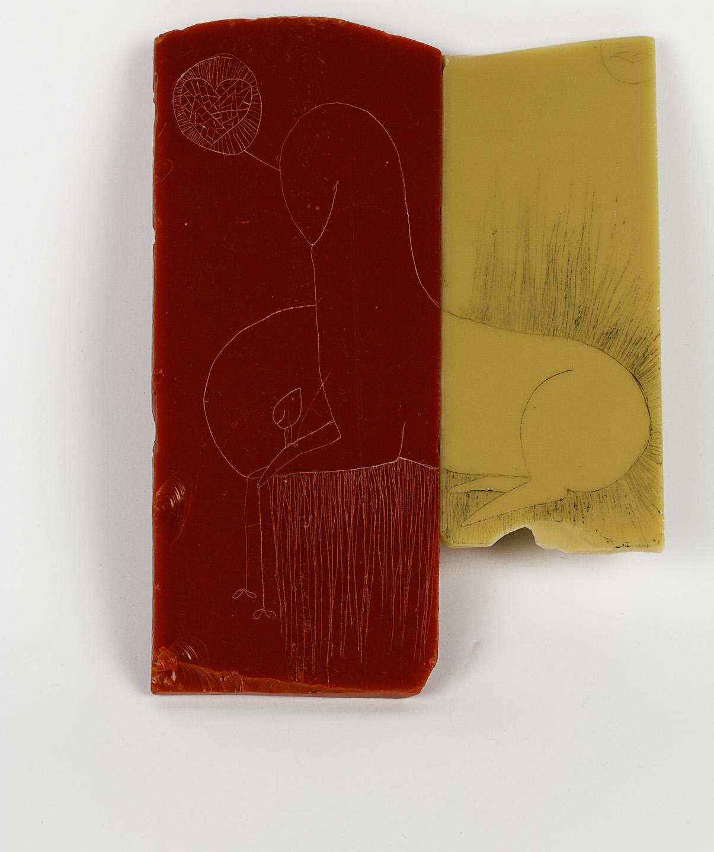 Jennifer Crescuillo   Good Friends , 2010  Engraved vitrolite, enamel