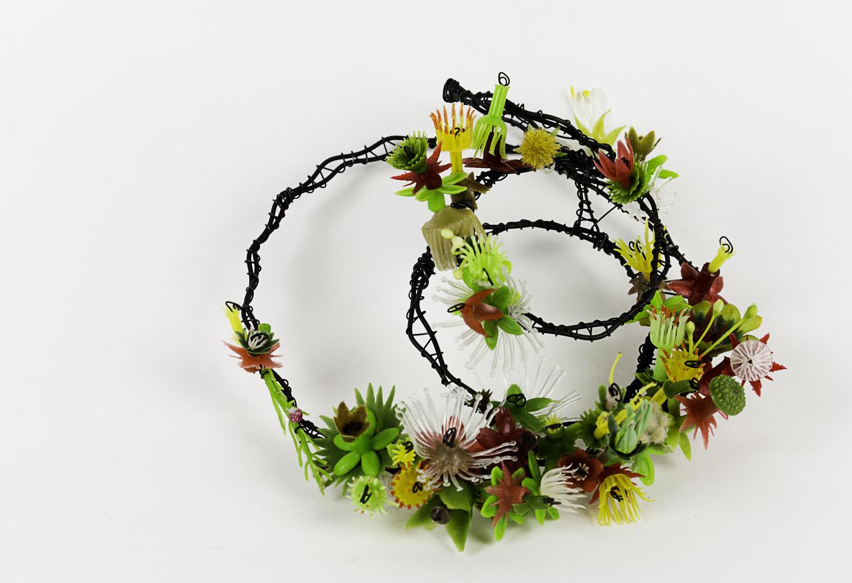 Jodi Waltier   2 Bit Ressurection , 2011  Reclaimed plastic, steel wire