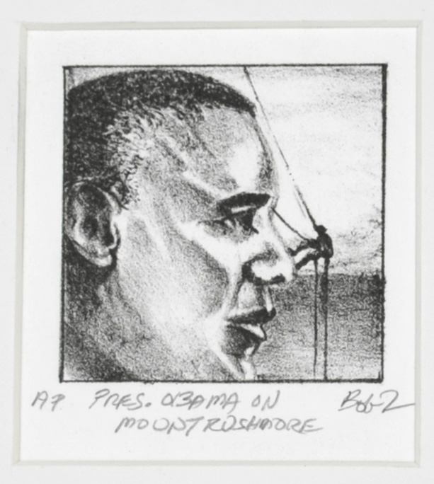 Bob Tomolillo     President Obama on Mount Rushmore , 2012  Lithograph