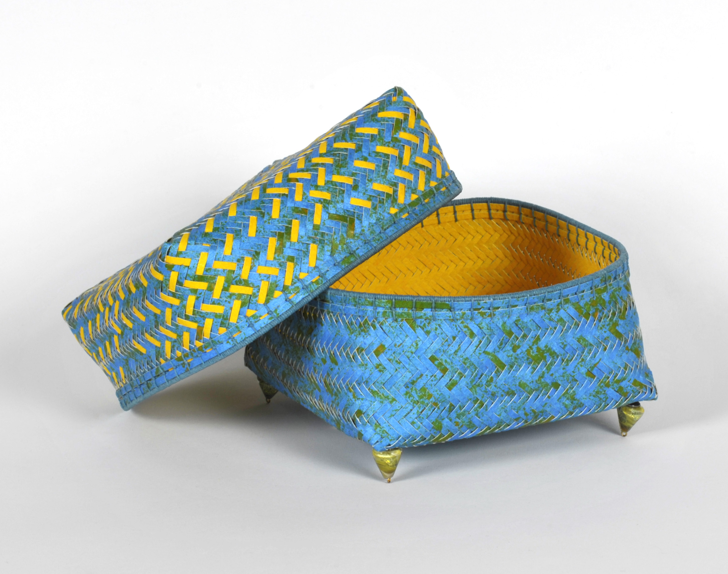 Dorothy McGuinness     Footed Box I,  2009  Watercolor paper, acrylic paint, waxed linen, glass beads