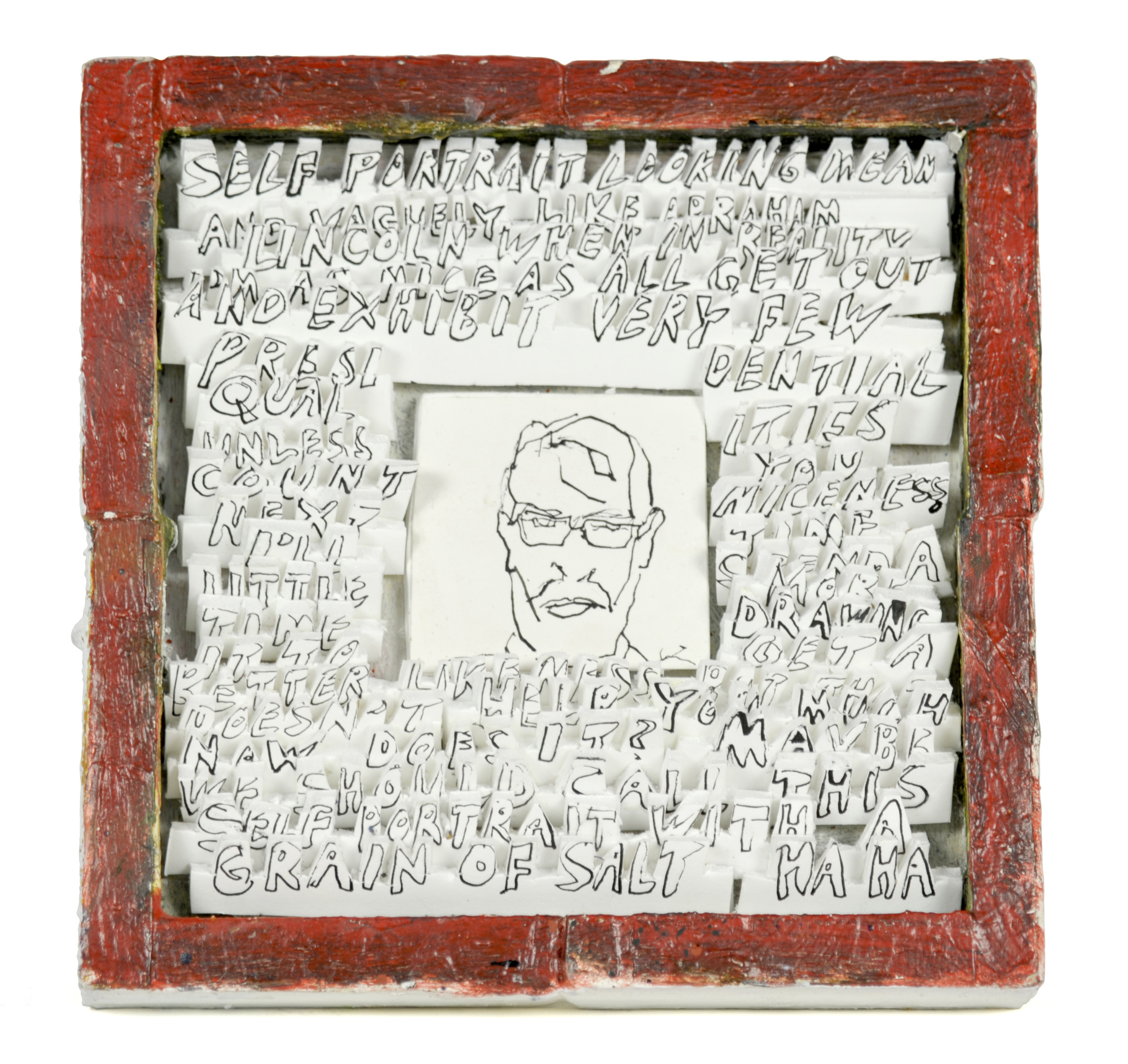 Edward Nelson     Self-Portrait With a Grain of Salt , 2012  Wood frame with foam core and watercolor