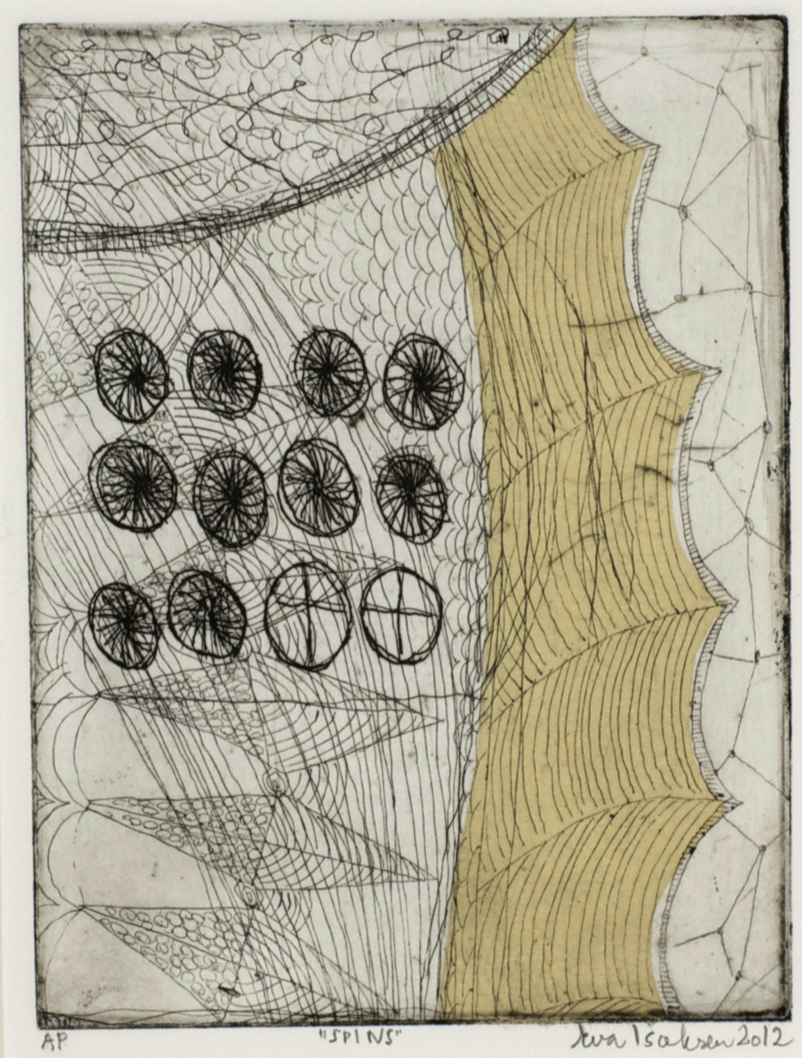 Eva Isaksen     Spins , 2012  Etching with chine colle