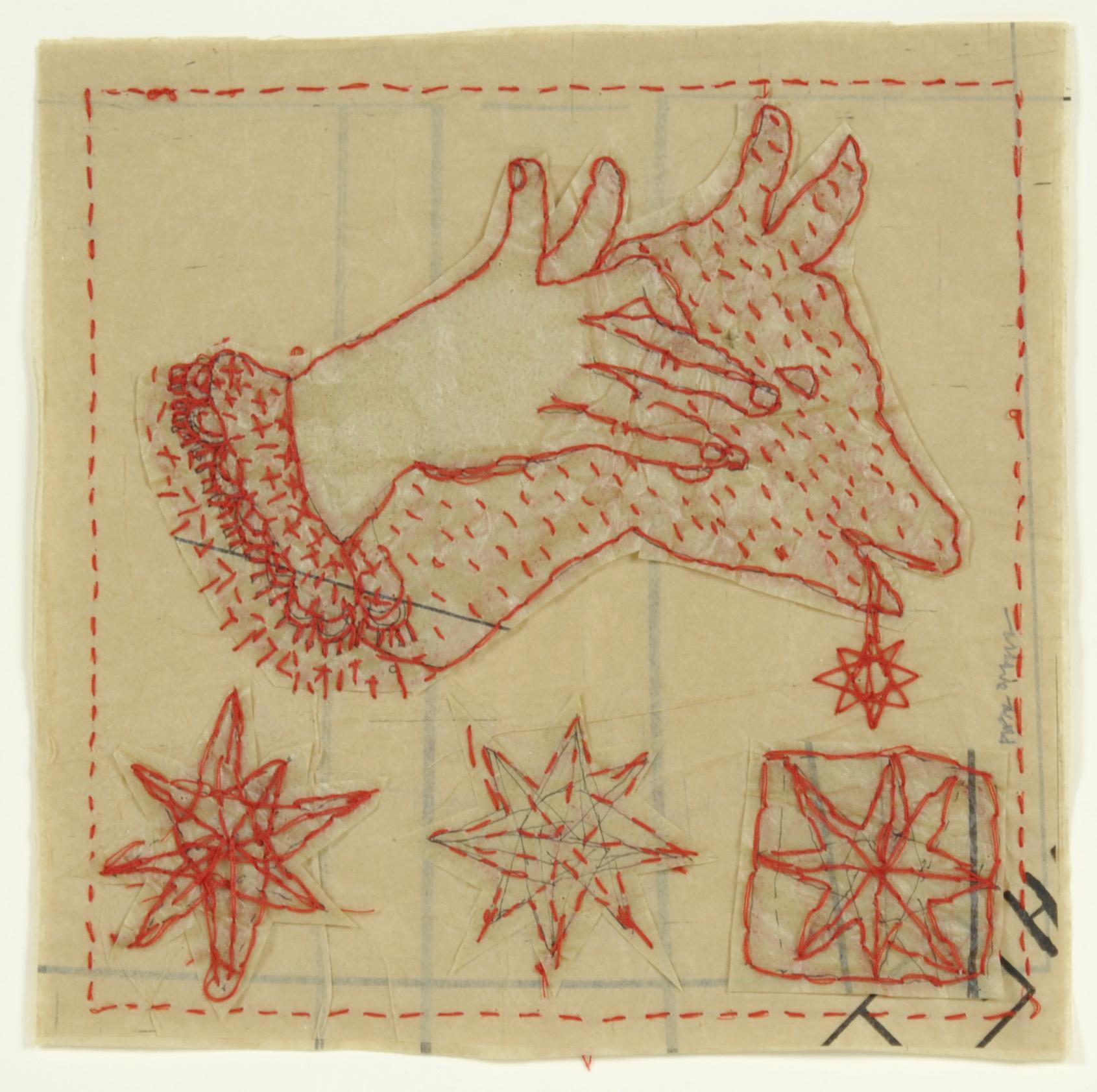 Piper O'Neill     Hand Shadows , 2012  Tissue and thread