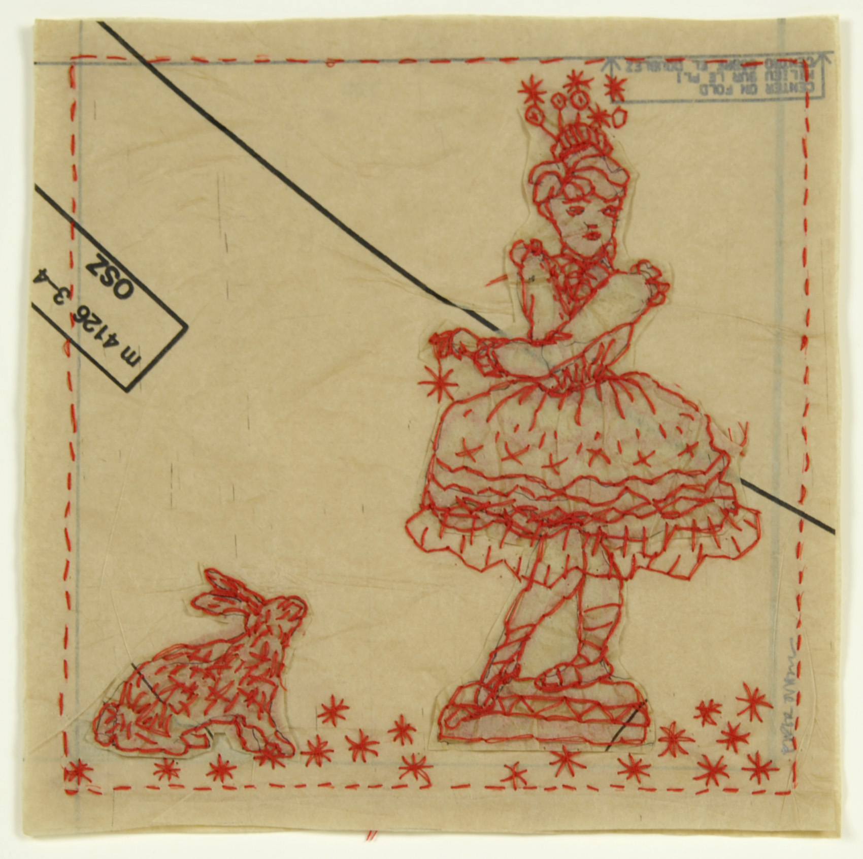 Piper O'Neill     A Dancer and a Rabbit,  2012  Tissue and thread