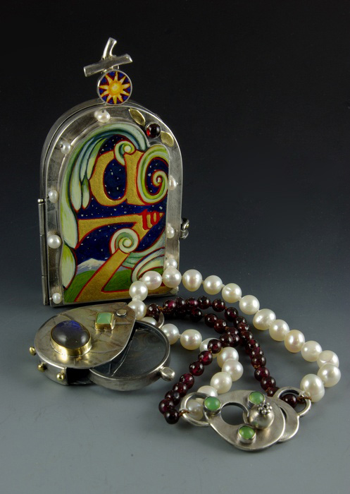 Sarah Wauzynski     Locket Botanica and Viewing Loupe Bracelet , 2012  Sterling silver, egg tempera, mixed media