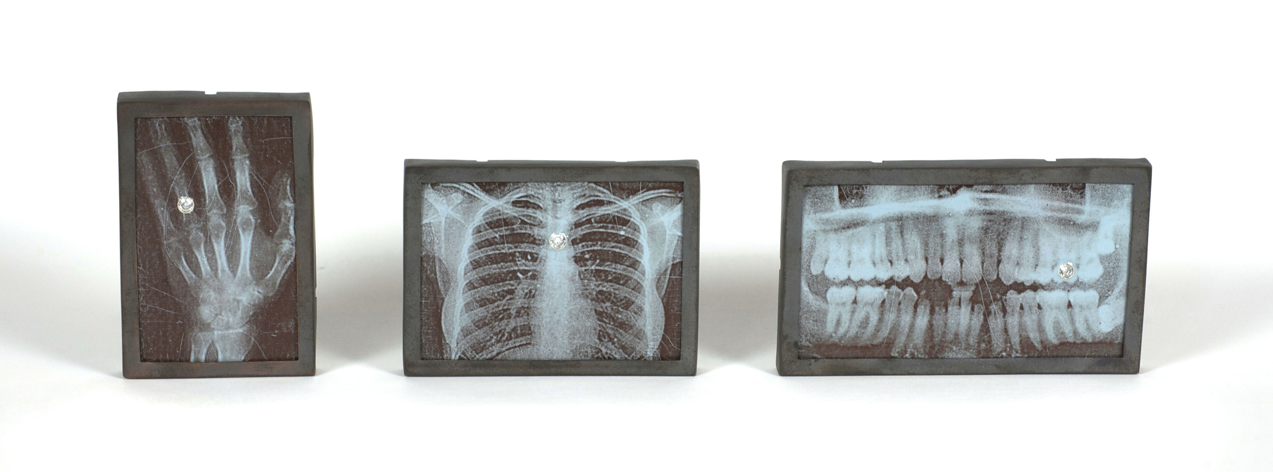Sena Huh    X  -  Ray Brooch Series   (  Hand, Chest, Teeth  )  ,  2010  Copper, enamel, photo decal, cubic zirconia