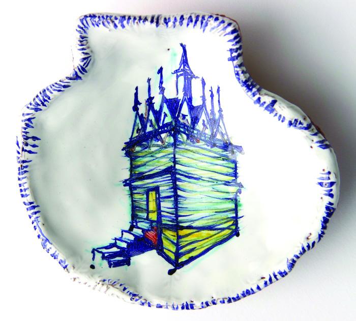 Terrell Lozada      Triangle Scllop , 2014     Majolica (tin-glazed terra-cotta)