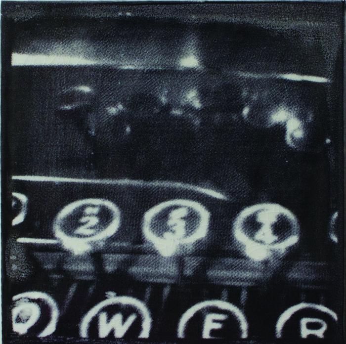 Laura Brodax      Typewriter Keys , 2012    Screen-printed porcelain tile