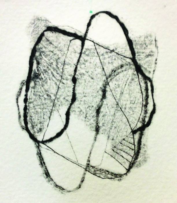 Sue Danielson      Thought Bubble I , 2012     Drypoint print