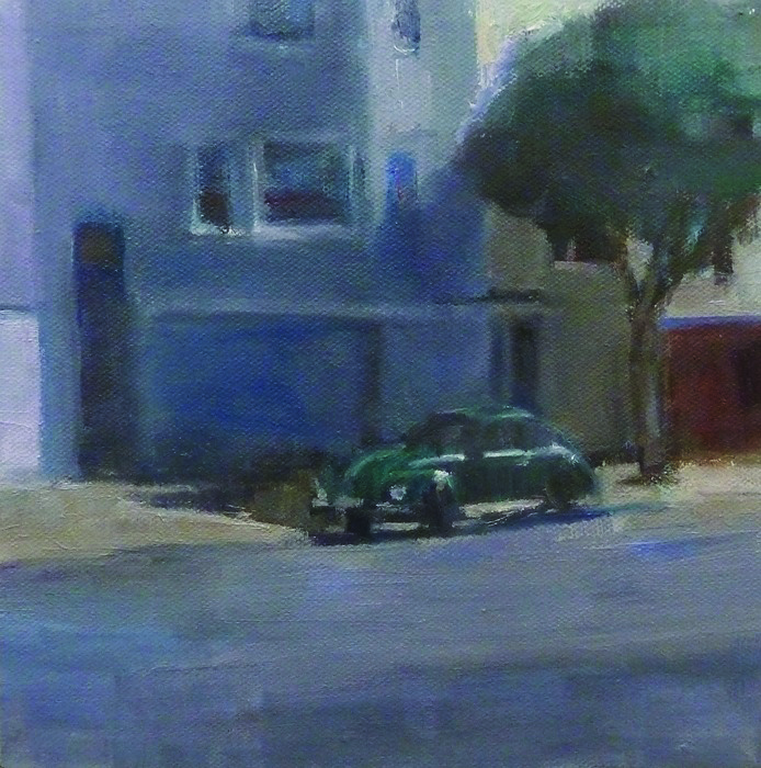 Runwen Chen      Green Car , 2014     Oil on canvas