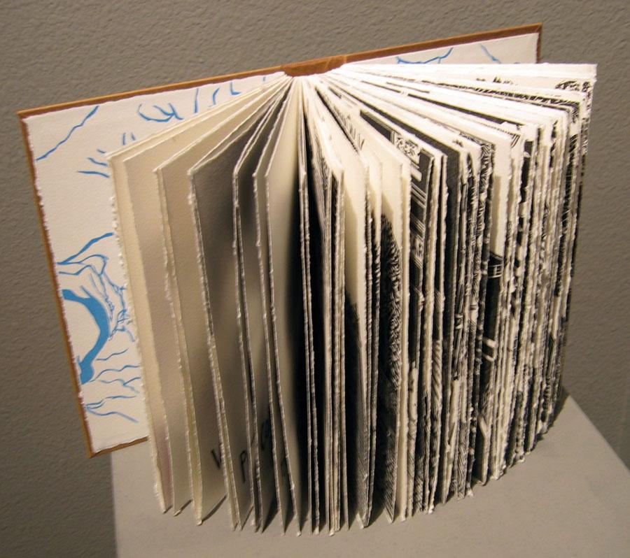 Mare Blocker   Walla Walla Next 7 Exits , 2009  Linoleum blocks, relief printed artist's book