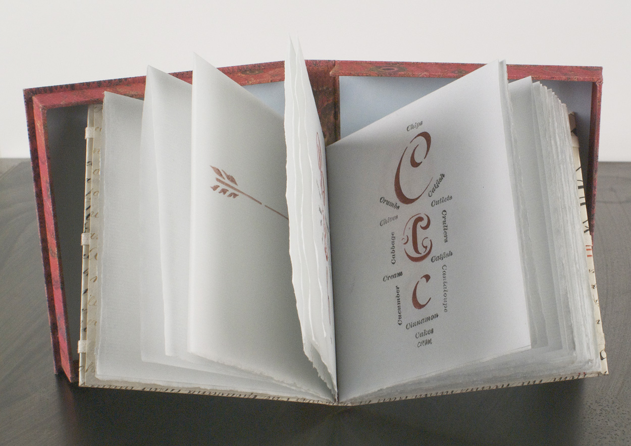 Claudia Cohen   An Edible Alphabet , 2010  Alphabet made with 19th century brass stencils, bound in vellum from a 19th c. deed. Calligraphy and rubber stamps for words