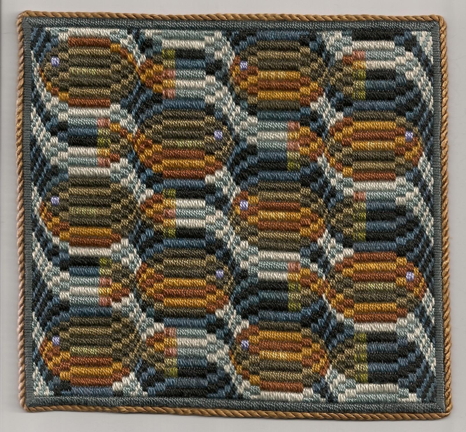 Victoria Dixon   Oil Spill Cushion , 2010  Bargello embroidery