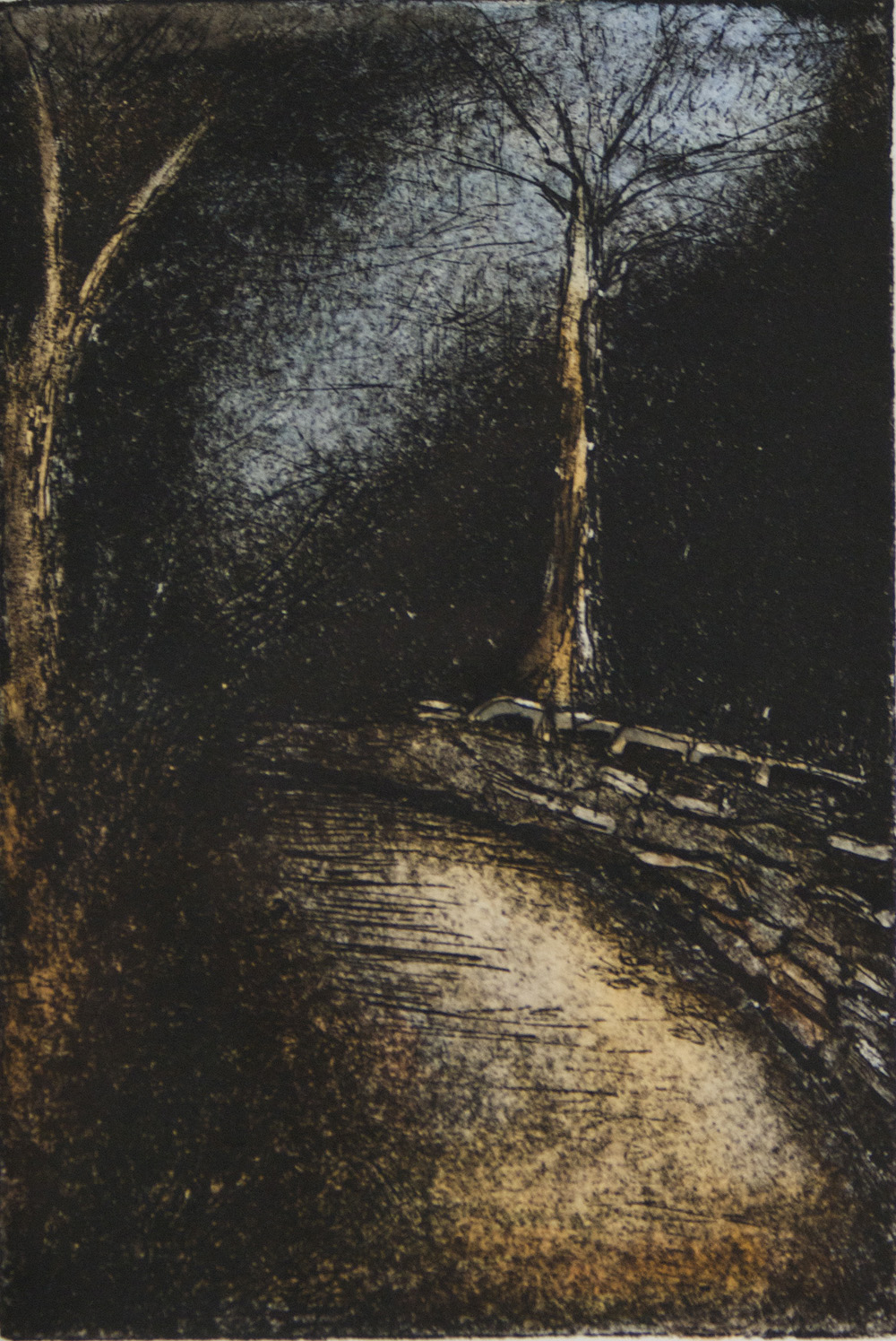 Julie Fisco   On the Trail, 2010  Etching with watercolor