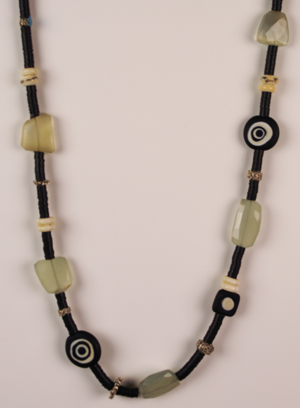 Terri Lovins   Black & Ivory Necklace , 2008  Artist-made glass and fine silver beads, African Heishi, bone, faceted amazonite, sterling silver