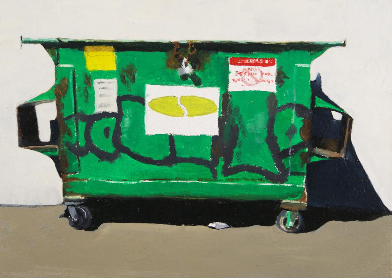 Rachel Maxi   Green Dumpster , 2009  Oil on board