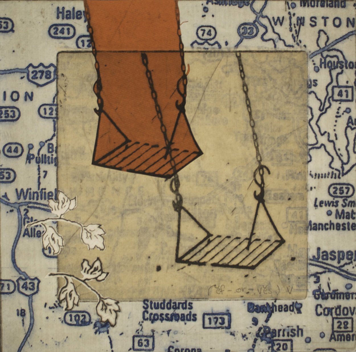 Ellen Rutledge   ef-or-ves) v. , 2010  Etching with chine colle and collage, mounted on board