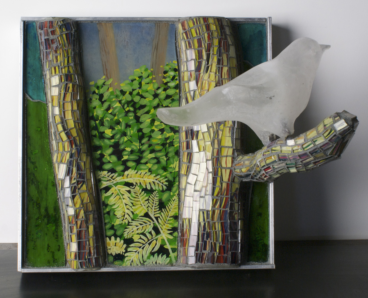 Katja Fritzsche   Moment, Silence , 2010  Cast glass bird, mosaic glass, mixed media