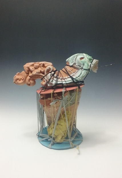 Gracia Brown,  Cord and Mantle Study , 2016  ceramic, mixed media, cord  10 x 6 x 10 in.  $350