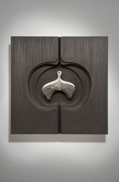 Mary Meyer,  Luster 3 , 2013.  cast aluminum, wood, graphite, sewing needle  10 x 10 x 1 in.  $600