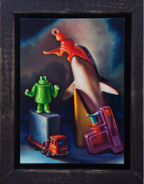 Aaron Pickens,  Dances With Whales , 2016.  oil on panel  7 x 5 in.  $600 (not for sale)