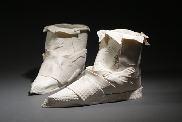 Inge Roberts,  whiter boots , 2015.  porcelain  6 x 8 x 10 in.  $1100