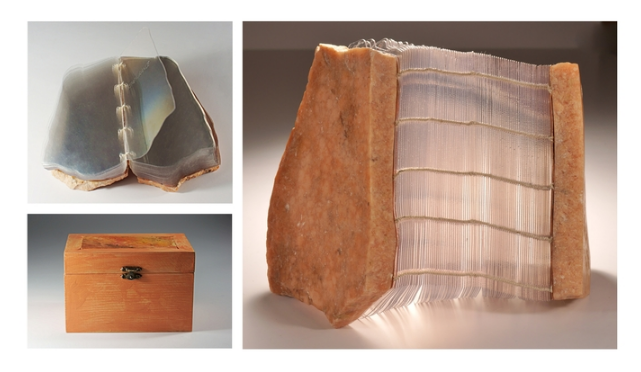 Susan Woolf,  Rockbound Book and Case: Alabaster of Memory , 2016.  artist book and case  4.25 x 6.375 x 4.25 in.  $1500