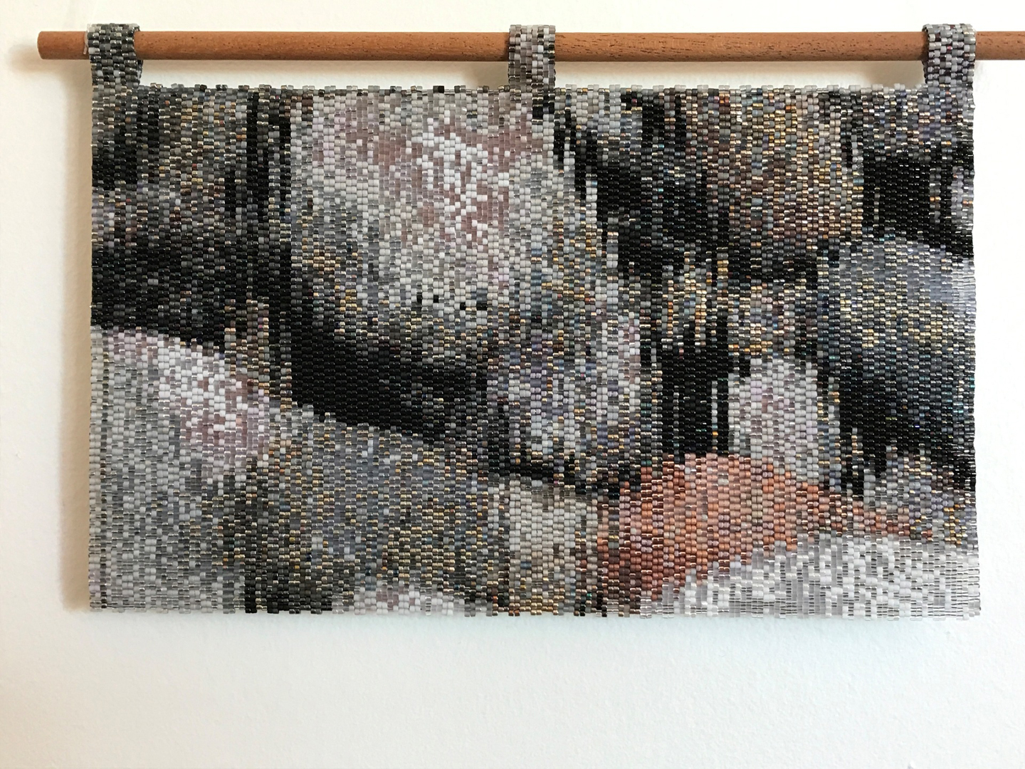 "Meagan Baldwin  ""Veruschka,"" 2016  beads, thread, felt, wooden dowel  Edmonds, WA  5.25""x 9""x0""  $1,200"
