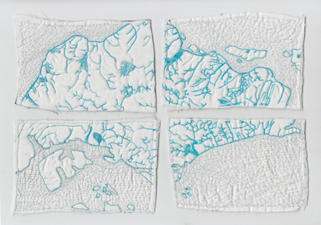 "Jessica Blaustein  ""Singapore Blue Map,"" 2015  cotton, batting, thread  Singapore  7""x10""x.125""  $400"