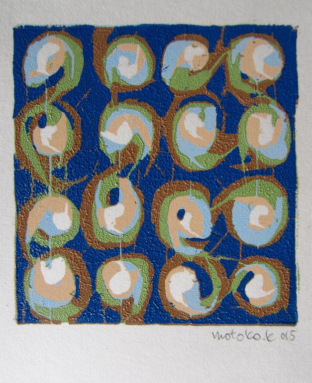 """Motoko Kamada  """"Circles 4x4,"""" 2015  woodcut on paper  Inglewood, CA  6""""x4""""x0""""  $200"""
