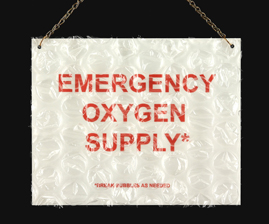 "Sharon Leong  ""Emergency Oxygen Supply,"" 2014  metal, bubble wrap  San Francisco, CA  8""x10""x0""  $100"