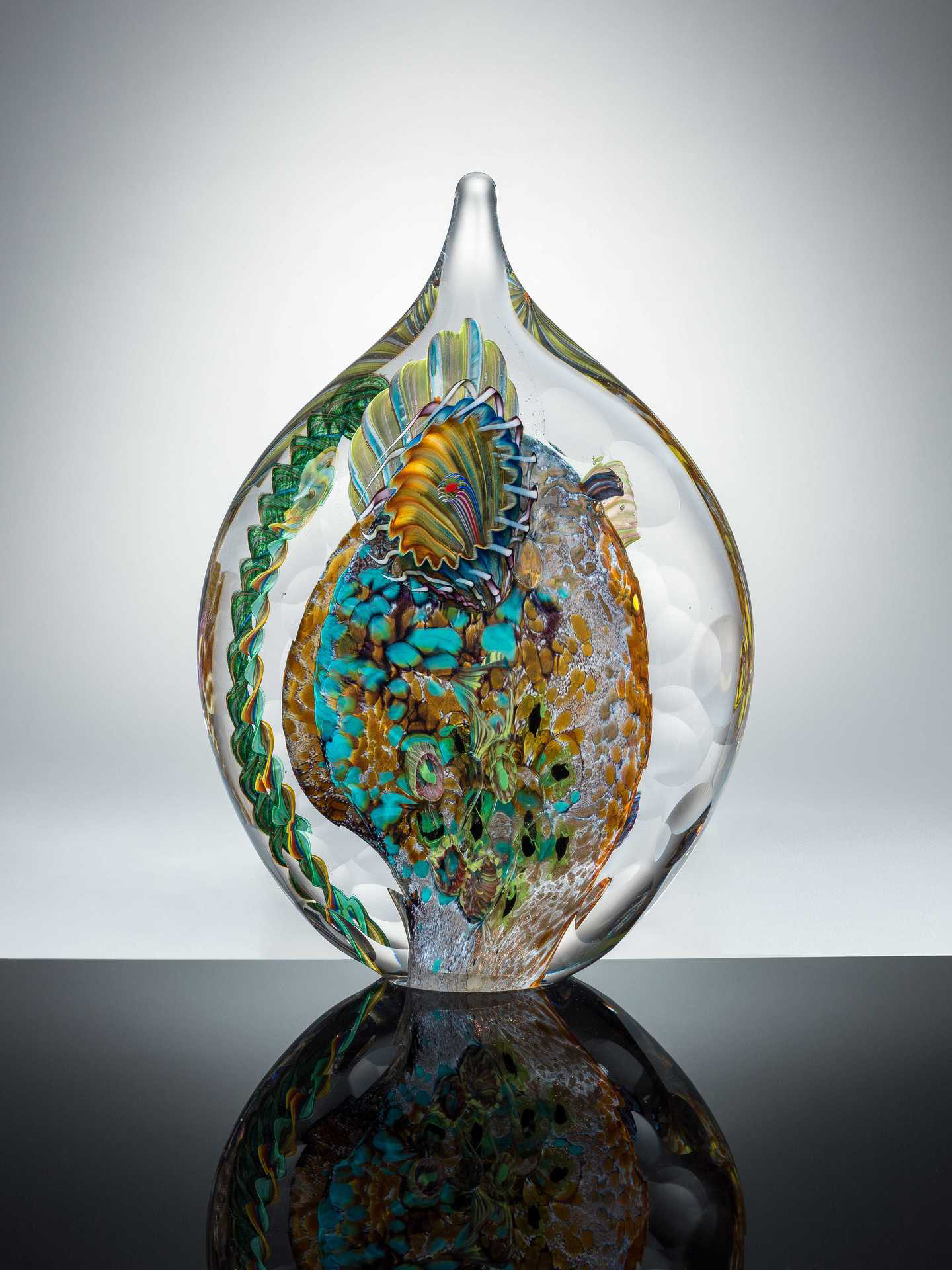 "Matthew Paskiet  ""Facet Seascape Sculpture 3,"" 2017  glass blown  Holland, OH  8.5""x6""x2.5""  $525"