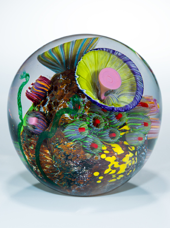 "Matthew Paskiet  ""Seascape Globe 2,"" 2017  glass blown  Holland, OH  4.25""x4.25""x4.25""  $450"