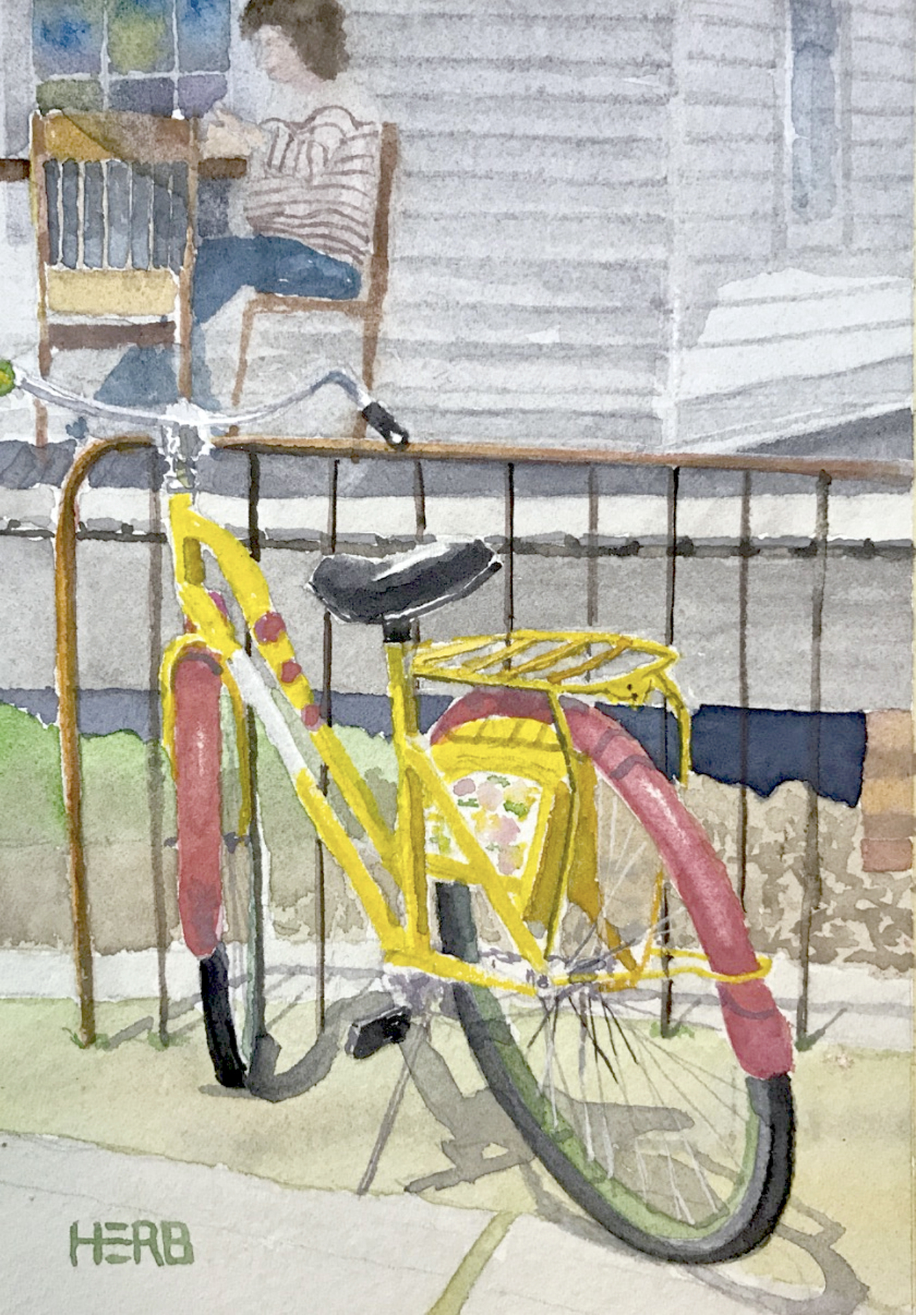 "Herb Willey  ""Colorful Bike @ Mockingbird Cafe,"" 2017  transparent watercolor  Bay St. Louis, MS  7""x5""x0""  $250"