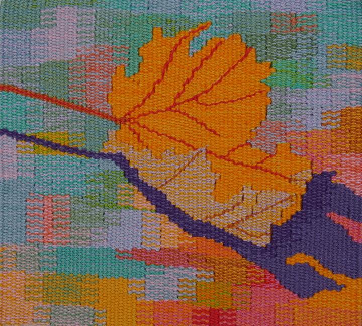 """Liz Pulos  """"Leaf,"""" 2016  woven tapestry  Tacoma, WA  7.5""""x7.75""""x0""""  $250"""