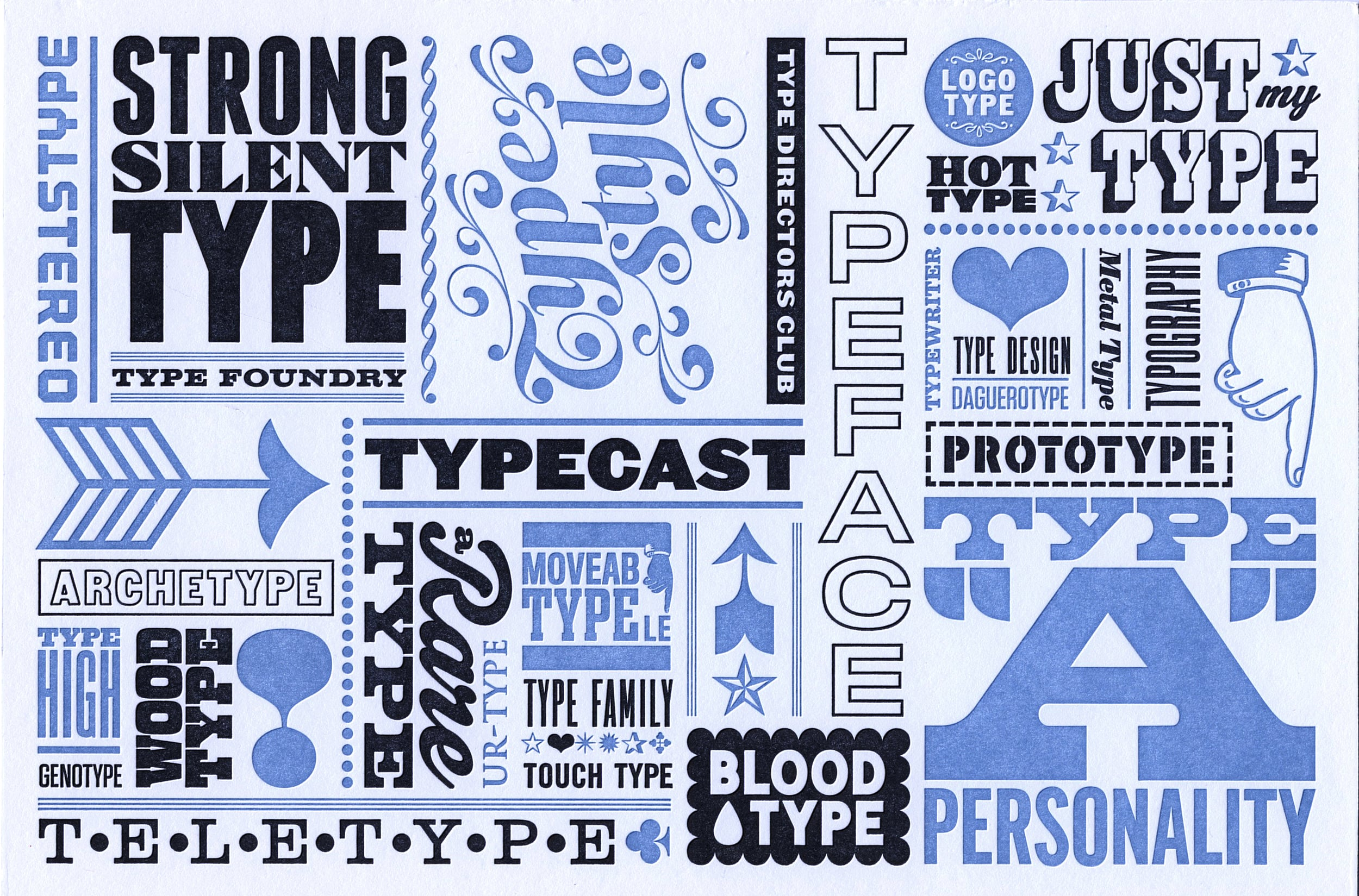 Type Directors Club letterpress post card