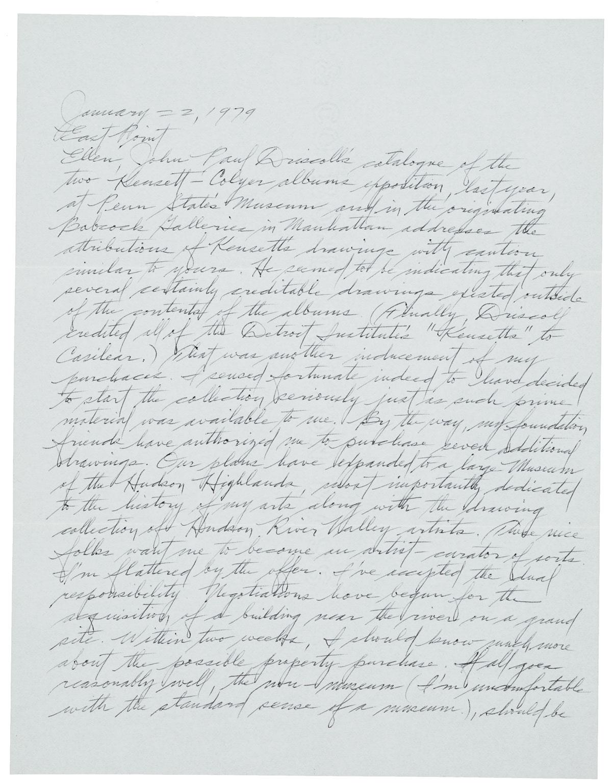 Dan Flavin (67),letter to Ellen H. Johnson, January 22, 1979