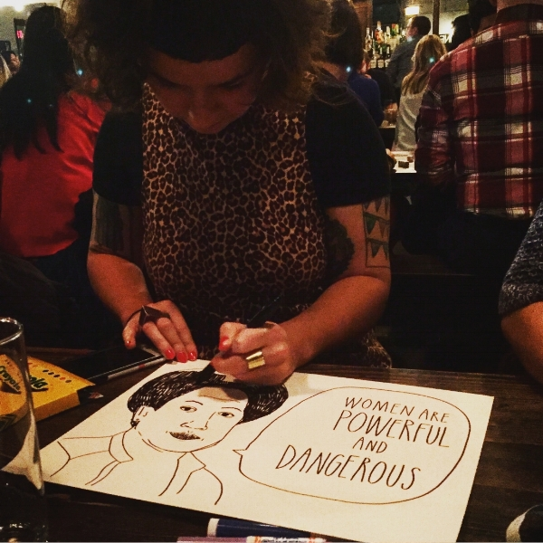Artist and art educator Stefanie Lewin, at the poster-making party, channeling Audre Lorde (above) and pro-choice activism (below).