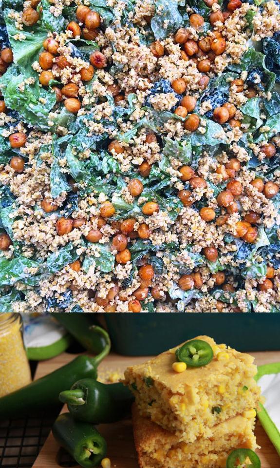 My favorite Vegan Cesar Salad and Honey Jalapeno Cornbread. Simple & Delicious.