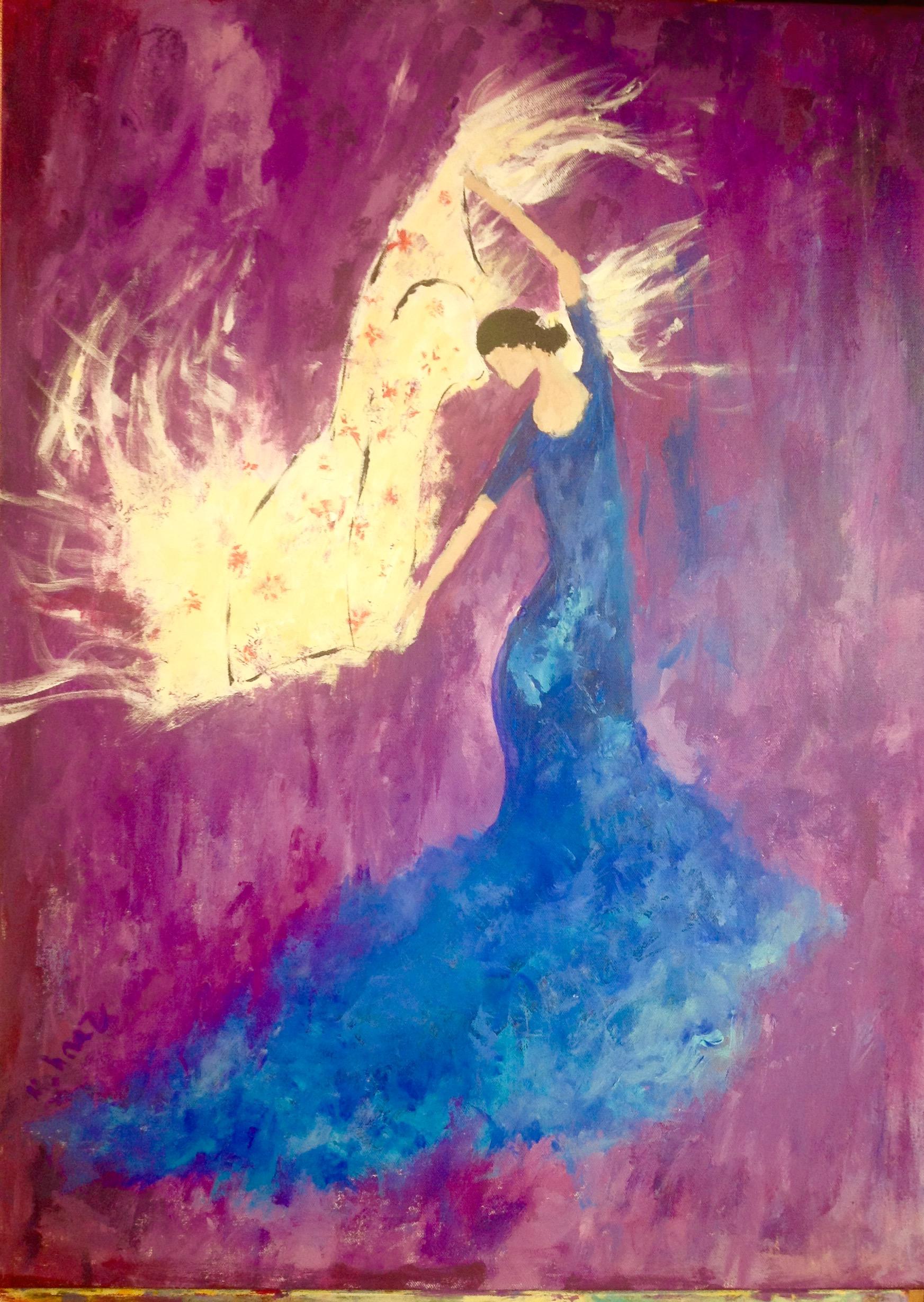 Blue dress dancer